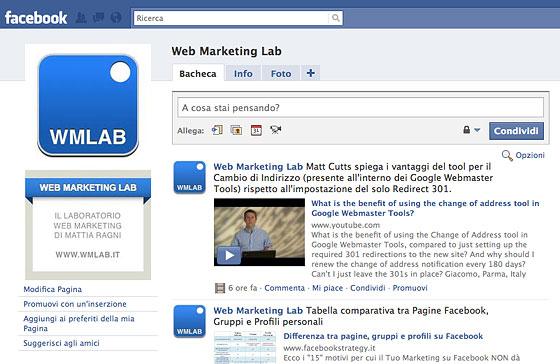 Pagina Facebook di Web Marketing Lab